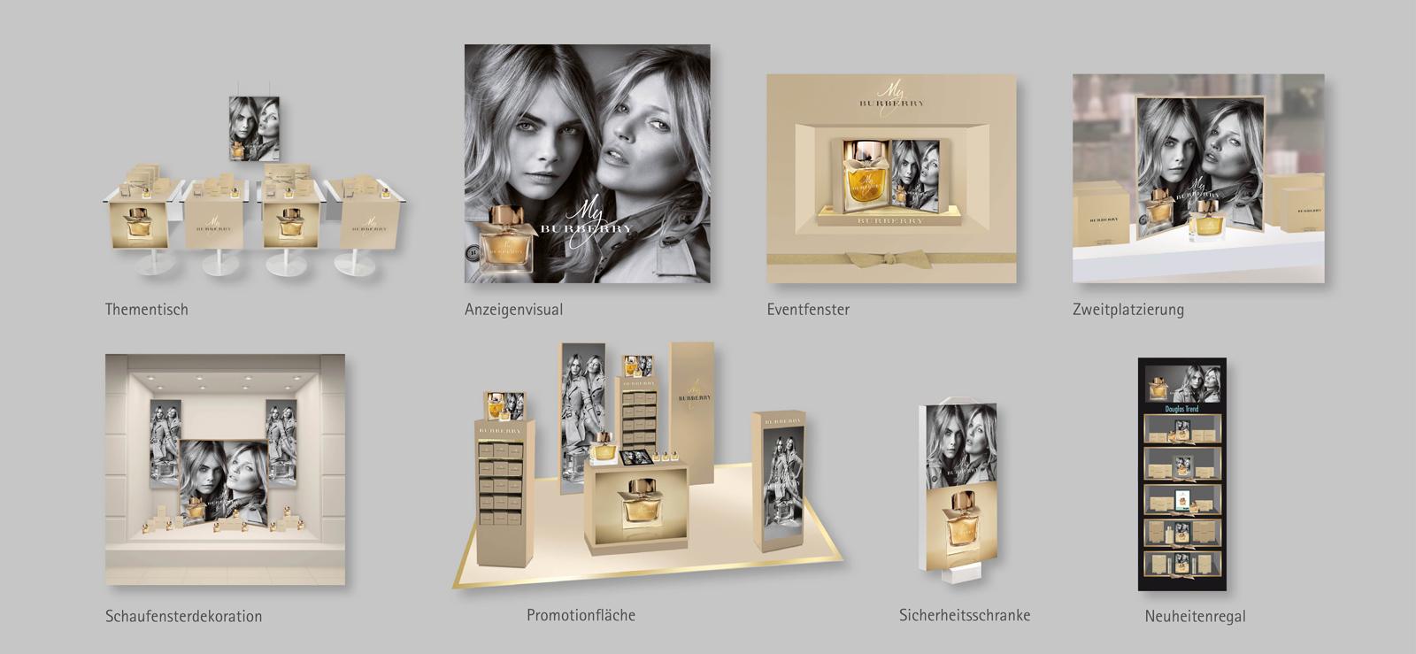 Faszinierend Schaufensterdekoration Beispiele Foto Von Handel · Von Zeichnungen V.l.n.r.: Thementisch Parfümerie